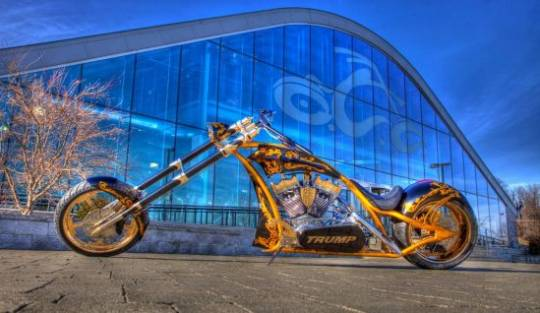 The new, long, loud and very gold custom chopper