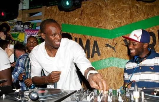 Bolt DJing at the Puma Yard bar.