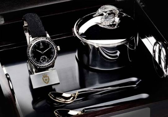 Royal Black Caviar watch with gold and silver cutlery set