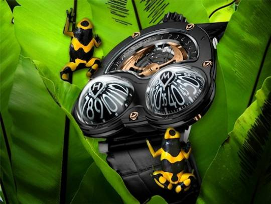 MB&F limited edition HM3 Frog watch tells time from a variety of angles without having to turn the wrist