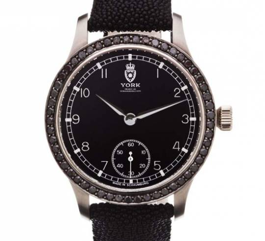 Royal Black Caviar watch with 53 black diamonds and stingray leather strapping