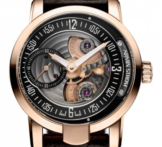 Armin Strom Gravity Fire Watch with rose gold casing and brown leather strap