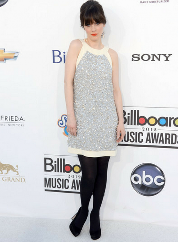 "Zooey Deschanel was spotted wearing these high end Miu Miu 4"" heel Suede Platform Pumps to the Billboard 2012 Music Awards."