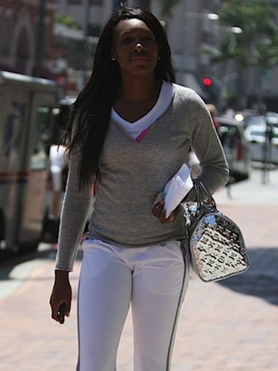The tennis star was recently spotted with a sliver handbag. The bag is pure leather and has a gloss silver finishing.