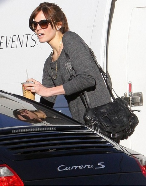 Mandy Moore was spotted leaving a Los Angeles hotel in a Porsche 911 Carrera S.