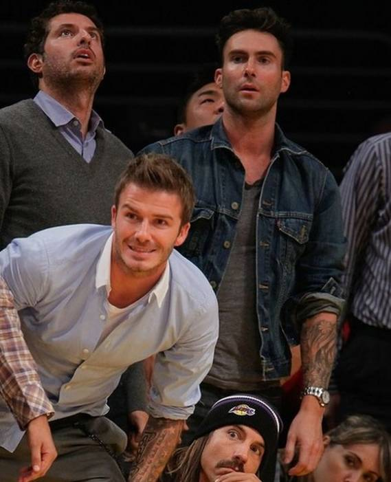 The super cool and classic trucker jacket from Levi's was worn by Adam Levine while attending the final game of Lakers vs. Suns Western Conference.