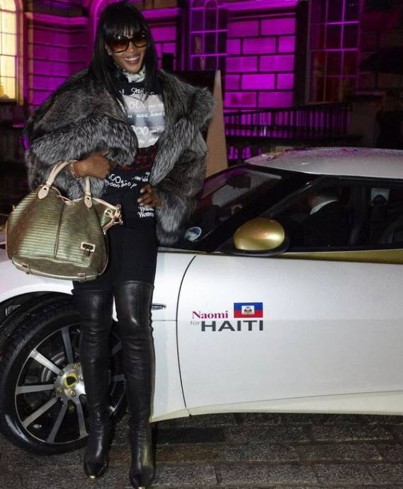 "Naomi with ""The Evora Naomi for Haiti"" limited edition"