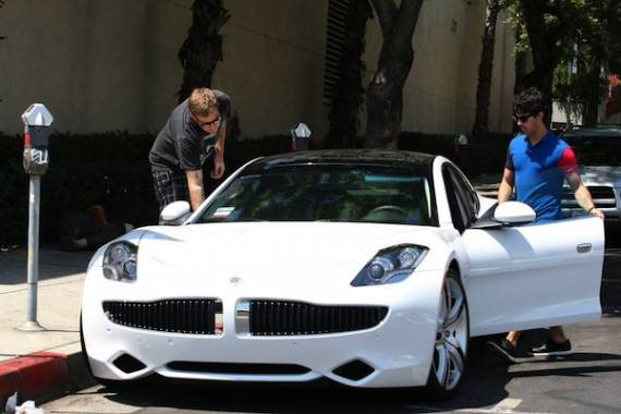 Joe Jonas drives Fisker Karma