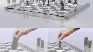 Transparent chess set inspired by Alice's wonder adventure