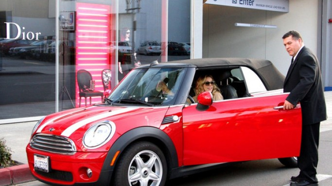 Rachel McAdams in her red Mini Cooper