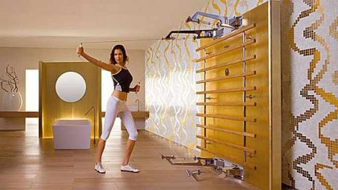 Technogym's Kinesis home gym is trimmed in real gold