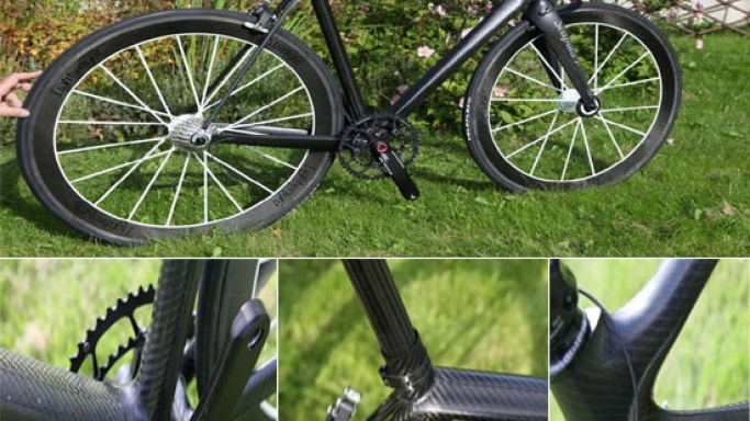 Custom road bike boasts carbon fiber body with custom electronic controls