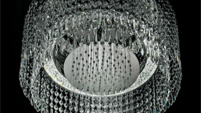 Architectural chandelier shower is a chandelier and shower all-in-one