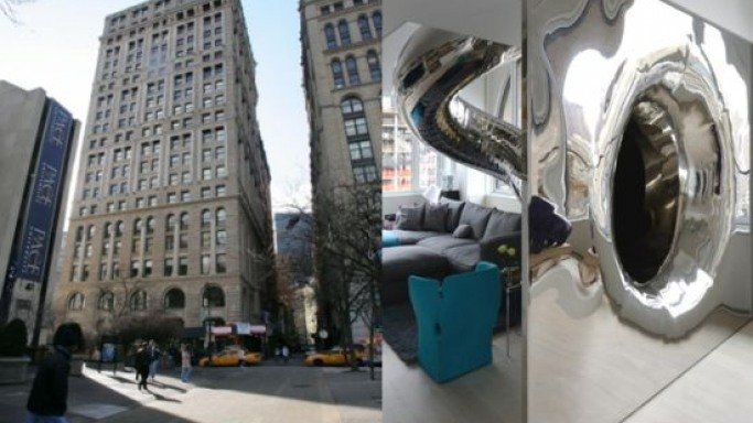 Manhattan penthouse boasts of stainless steel 'intestinal' 80-Foot Tube Slide Covering Four Floors