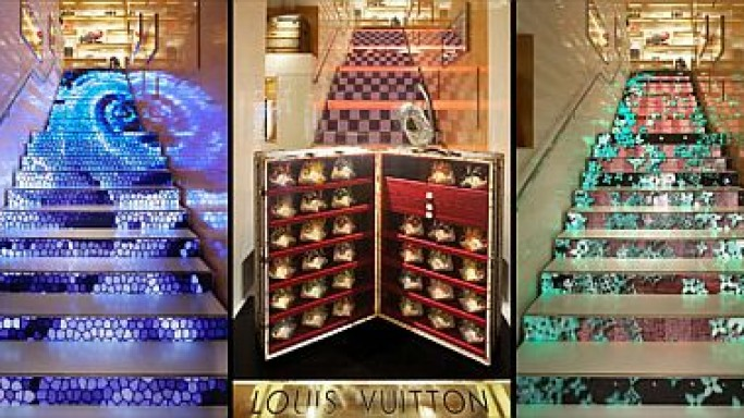 Louis Vuitton's plasma screen staircase plays technicolor tricks