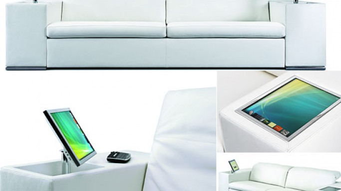 Athena Multimedia Sofa with an integrated computer